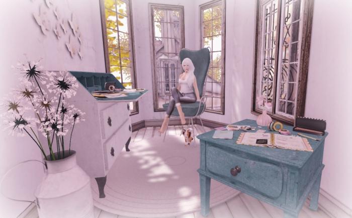 Desk, Chair sidetable